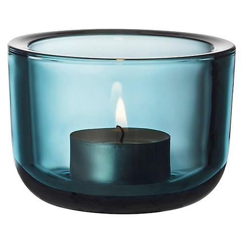 "2"" Valeka Tealight Candleholder, Sea Blue"