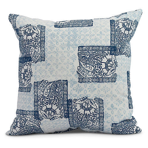 Floral Patchwork Pillow, Blue