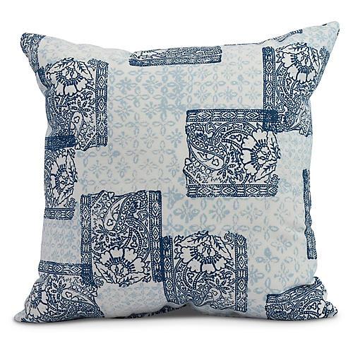 Floral Patchwork Pillow, Blue