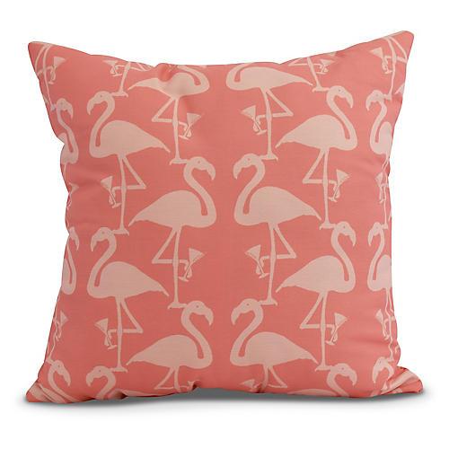 Dancing Flamingos Pillow, Coral