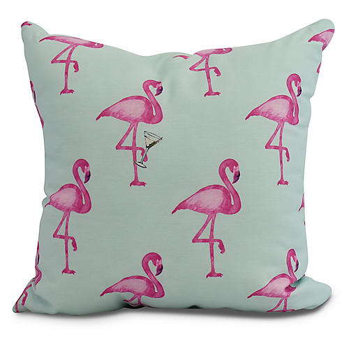 Martini & Flamingos Pillow, Aqua