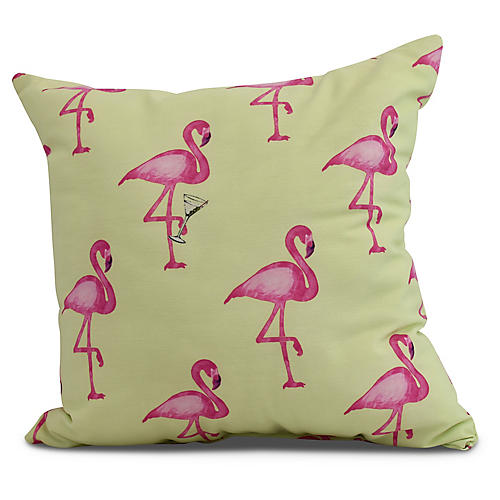Martini & Flamingos Pillow, Lime