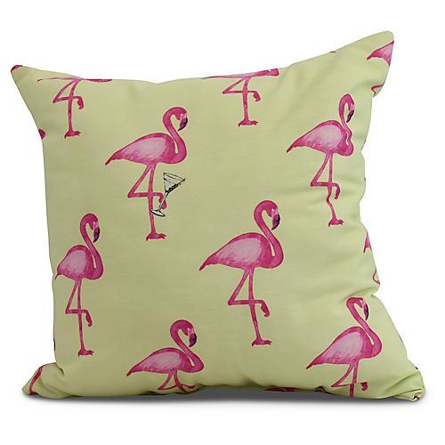 Martini & Flamingos Pillow, Lime