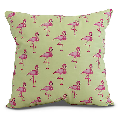 Petite Flamingos Pillow, Lime