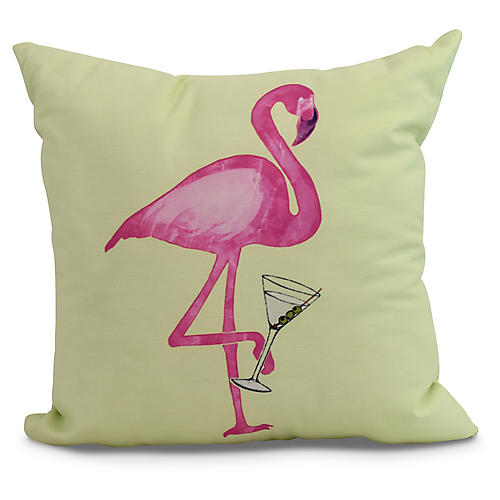 Sipping Flamingo Pillow, Lime