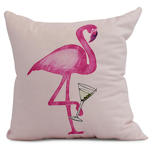 Sipping Flamingo Pillow, Pink