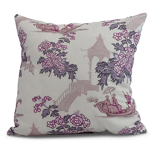 Floral Chinoiserie Pillow, Purple