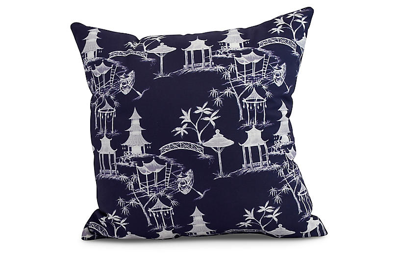 Chinoiserie Pillow, Navy