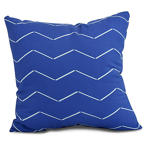 Ocean Waves Pillow, Royal Blue