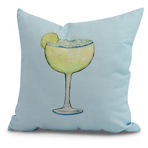 Lime Margarita Pillow, Light Blue