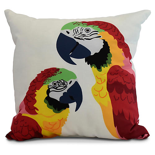 Talking Parrots Pillow, Red/Yellow