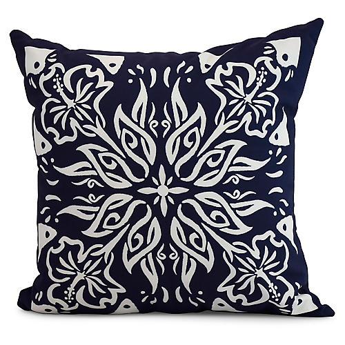 Floral Medallion Pillow, Navy
