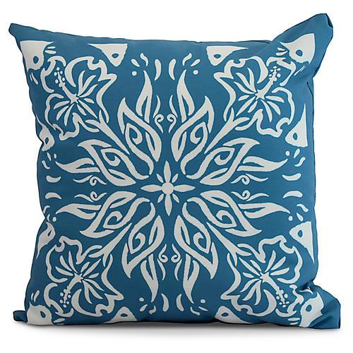 Floral Medallion Pillow, Blue