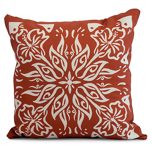 Floral Medallion Pillow, Orange