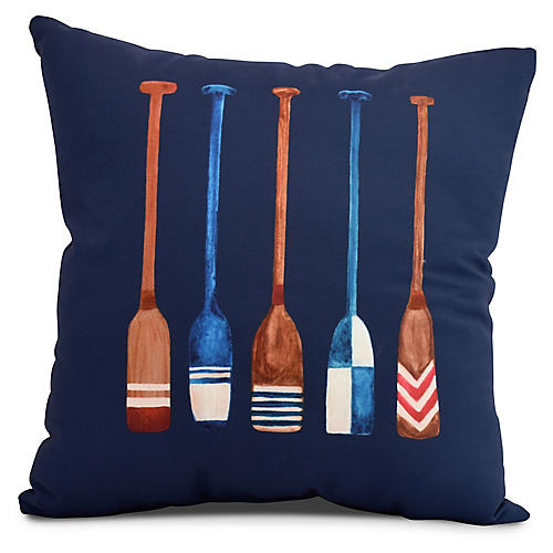 Nautical Oar Pillow, Navy