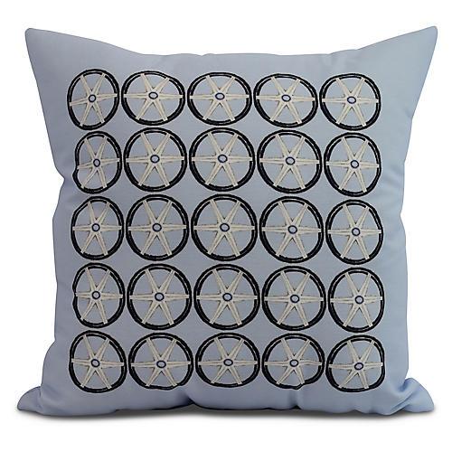 Nautical Wheels Pillow, Light Blue
