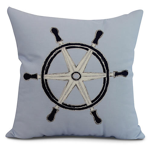 Nautical Wheel Pillow, Light Blue