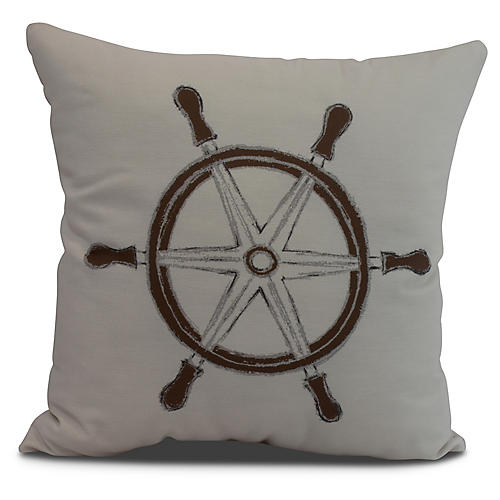 Nautical Wheel Pillow, Ivory