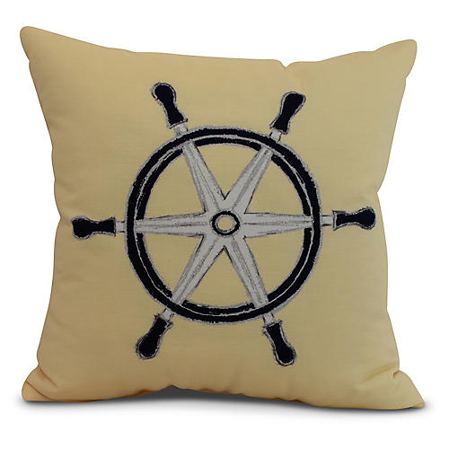 Nautical Wheel Pillow, Yellow