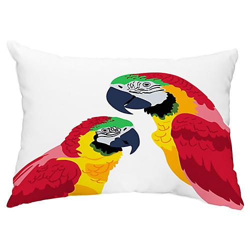 Talking Parrots 14x20 Lumbar Pillow, Red/Yellow
