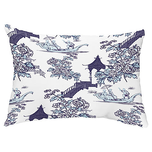 Floral Chinoiserie 14x20 Lumbar Pillow, Navy