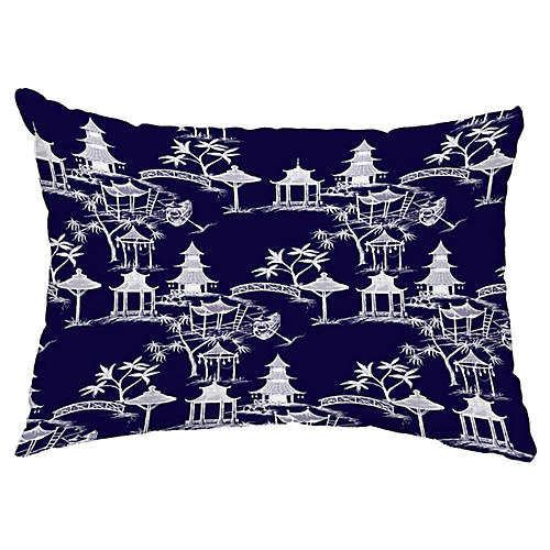 Chinoiserie 14x20 Lumbar Pillow, Navy