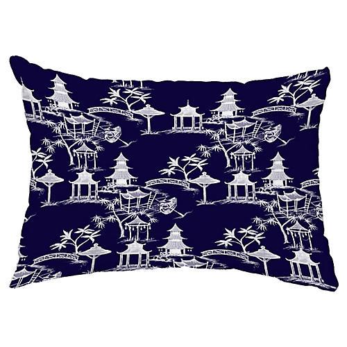Chinoiserie 14x20 Lumbar Pillow, Navy