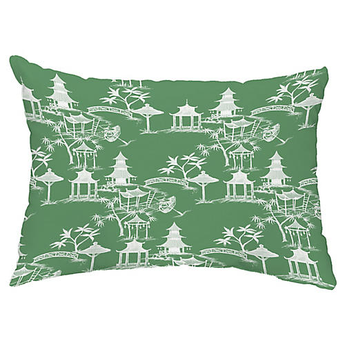 Chinoiserie 14x20 Lumbar Pillow, Green