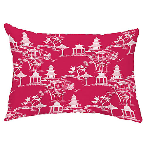 Chinoiserie 14x20 Lumbar Pillow, Fuchsia