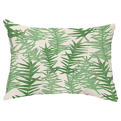 Falling Ferns 14x20 Lumbar Pillow, Green