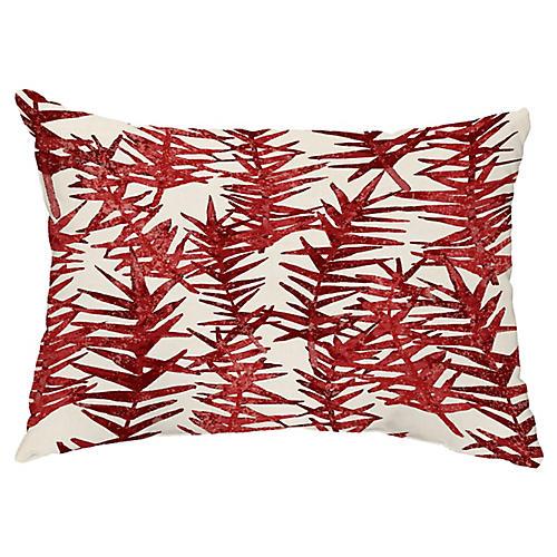 Falling Ferns 14x20 Lumbar Pillow, Red