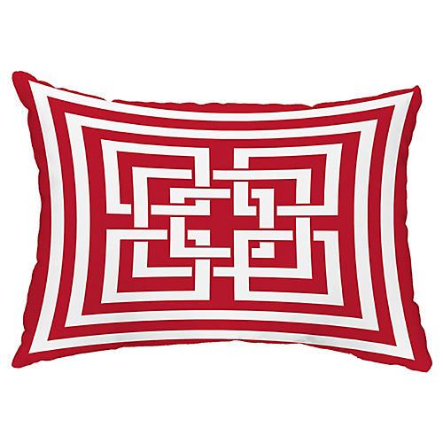 Maze Link 14x20 Lumbar Pillow, Red