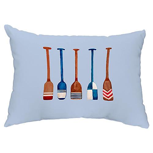 Nautical Oar 14x20 Lumbar Pillow, Blue