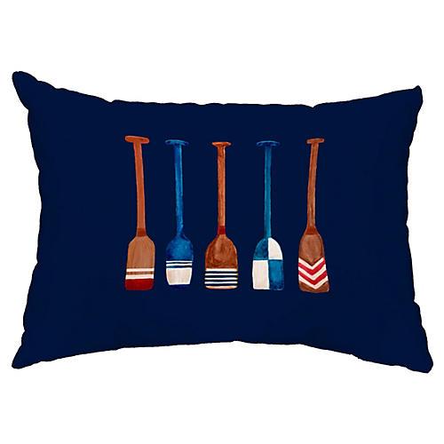 Nautical Oar 14x20 Lumbar Pillow, Navy