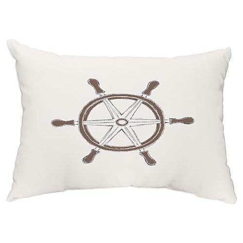 Nautical Wheel 14x20 Lumbar Pillow, Ivory