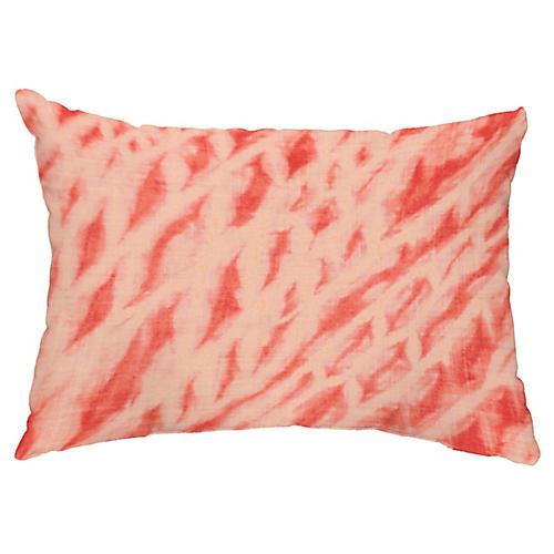 Shibori 14x20 Lumbar Pillow, Coral