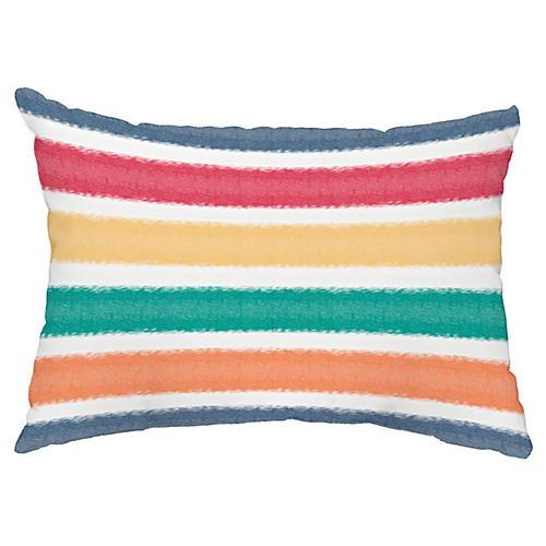 Beach Shack Stripe 14x20 Lumbar Pillow, Blue