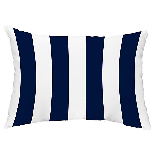 Monaco Stripe 14x20 Lumbar Pillow, Navy