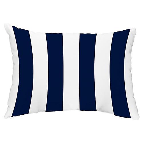 Monaco Stripe 14x20 Lumbar Pillow, Navy