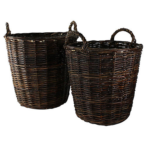 S/2 Boreal Round Baskets, Natural