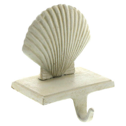 "6"" Scallop Stocking Holder, Antiqued White"