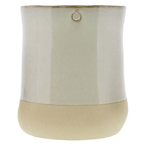 """6"""" Chieti Wide Candleholder, White/Bisque"""
