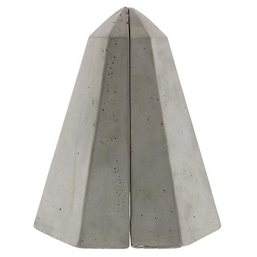 S/2 Geometric Obelisk Bookends, Gray
