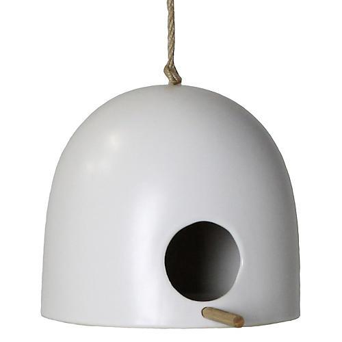 """10"""" Livorno Wide Birdhouse, Matte White"""