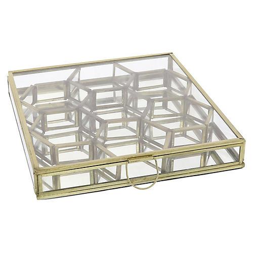 Milton Honeycomb Display Case, Brass