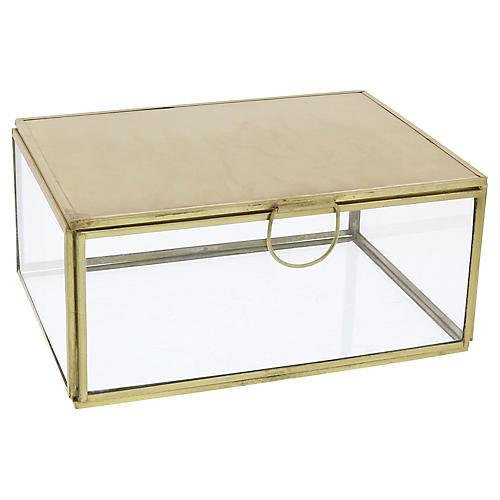 Milton Jewelry Box w/ Mirror, Brass