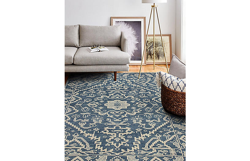 Ava Hand Knotted Rug Azure Traditional Rugs By Style