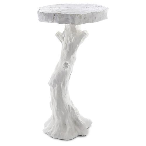 Faux-Bois Side Table, White