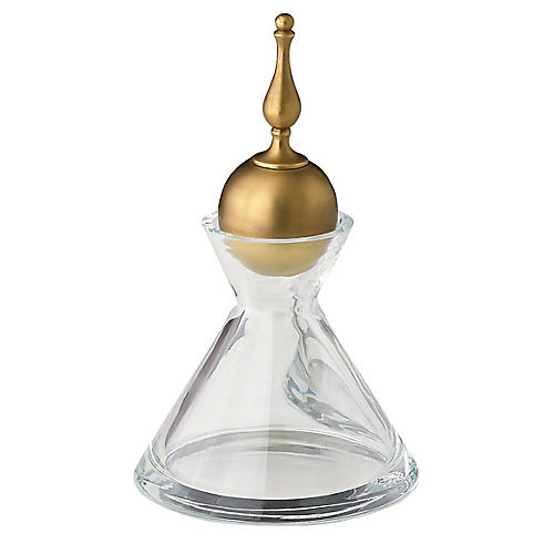 Finial Decanter, Brass/Clear