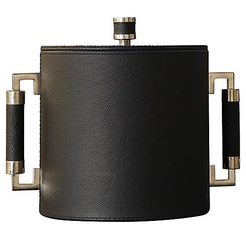 Double-Handle Ice Bucket, Black/Nickel